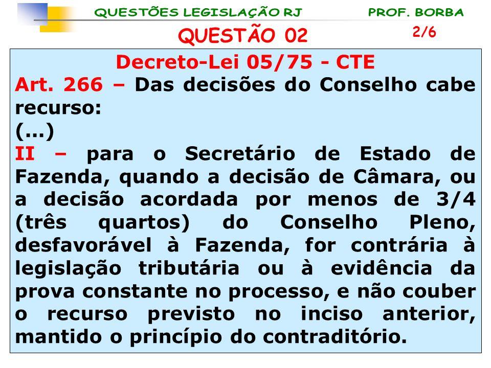 Art. 266 – Das decisões do Conselho cabe recurso: (...)