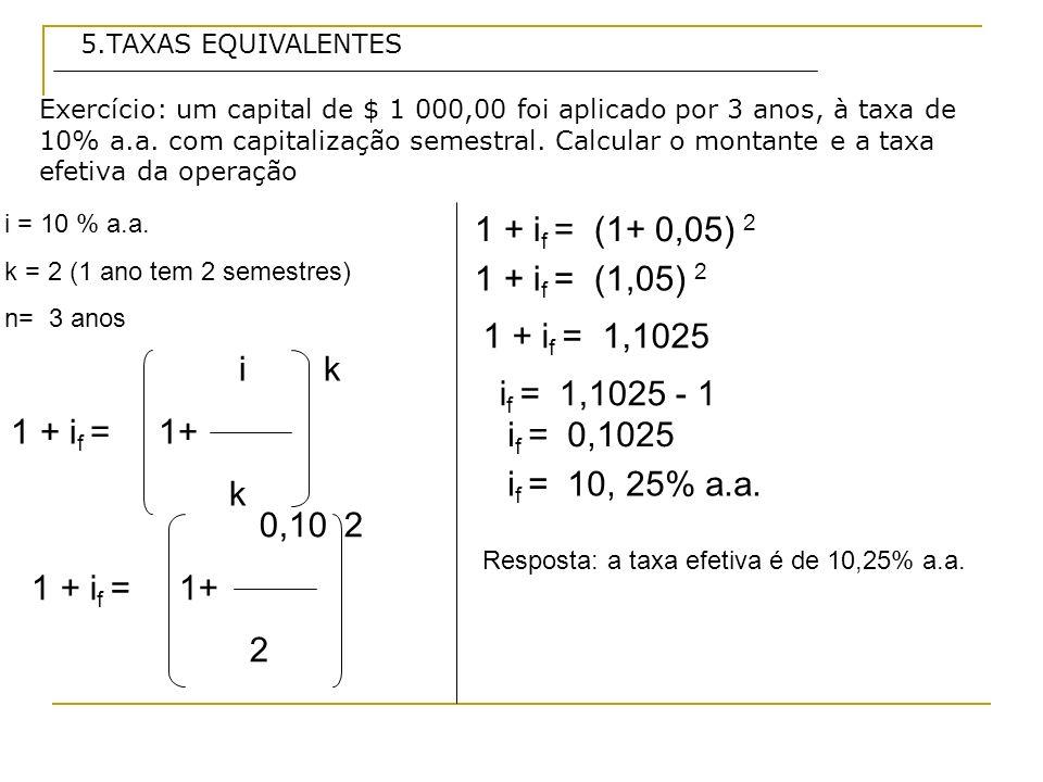 1 + if = (1+ 0,05) 2 1 + if = (1,05) 2 1 + if = 1,1025 i k 1 + if = 1+