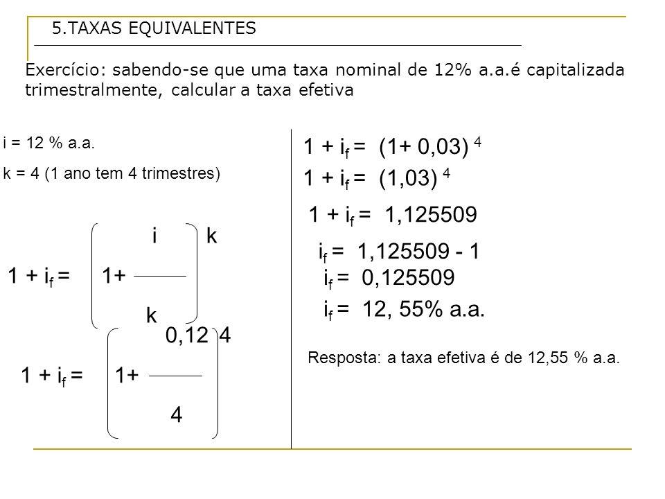 5.TAXAS EQUIVALENTES Exercício: sabendo-se que uma taxa nominal de 12% a.a.é capitalizada trimestralmente, calcular a taxa efetiva.