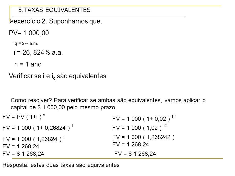 exercício 2: Suponhamos que: PV= 1 000,00 i q = 2% a.m.
