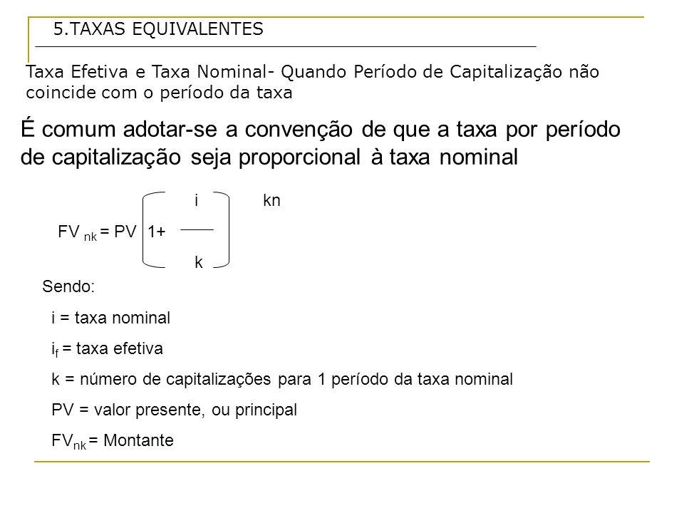 5.TAXAS EQUIVALENTES Taxa Efetiva e Taxa Nominal- Quando Período de Capitalização não coincide com o período da taxa.