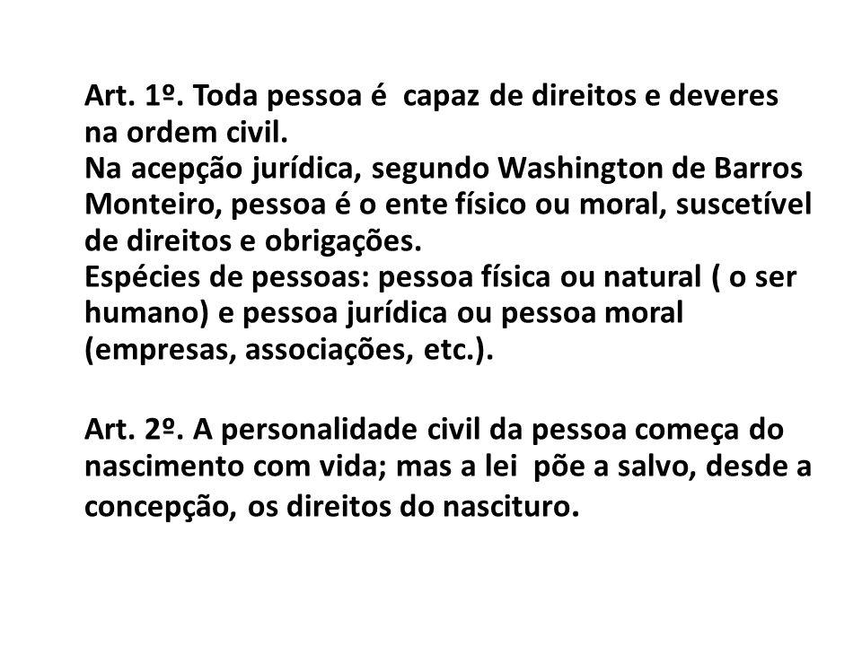 Art. 1º. Toda pessoa é capaz de direitos e deveres na ordem civil
