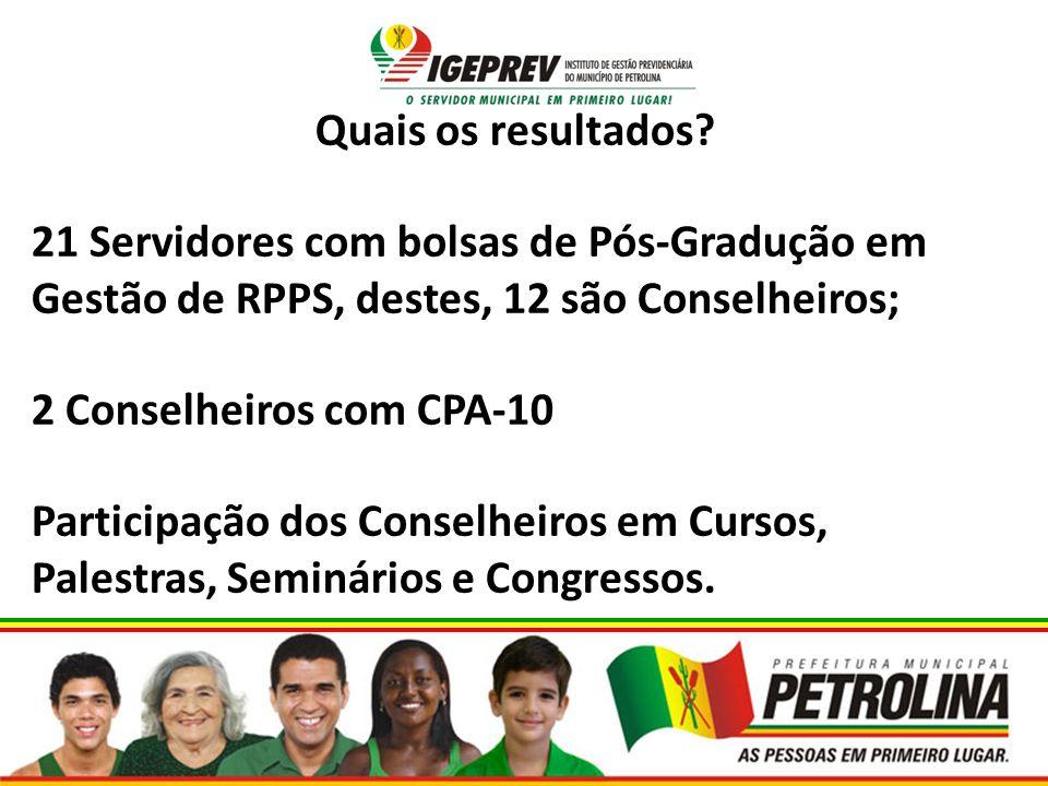 Quais os resultados 21 Servidores com bolsas de Pós-Gradução em Gestão de RPPS, destes, 12 são Conselheiros;