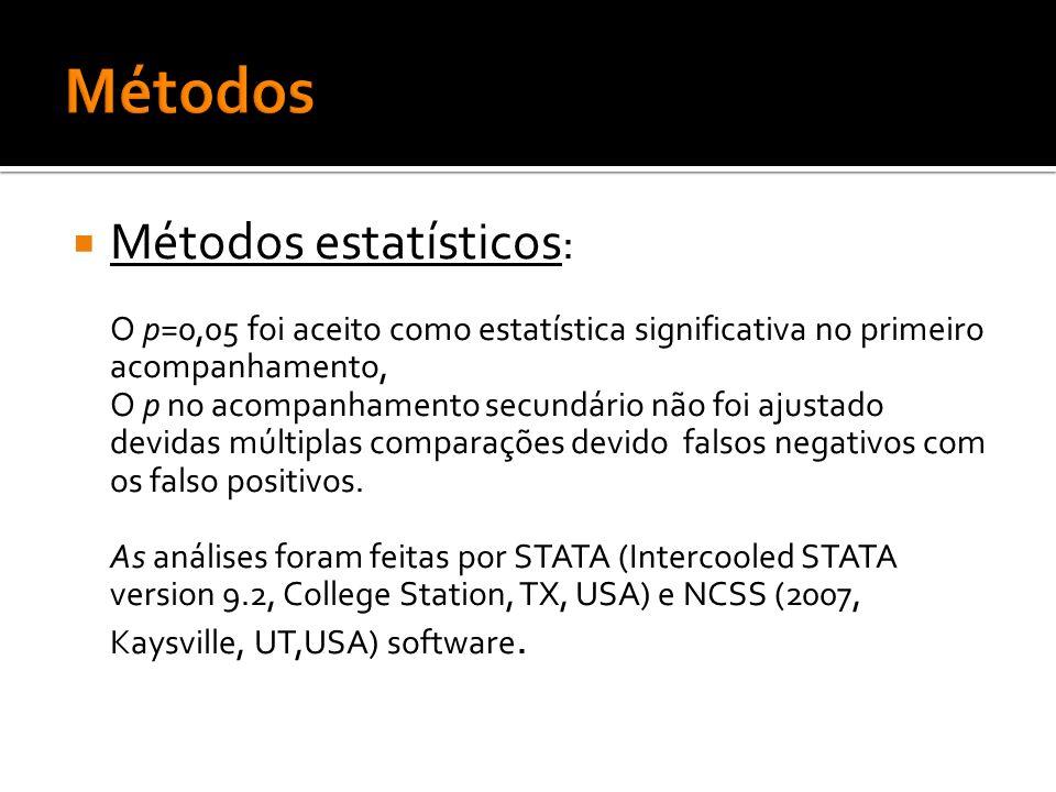 Métodos Métodos estatísticos: