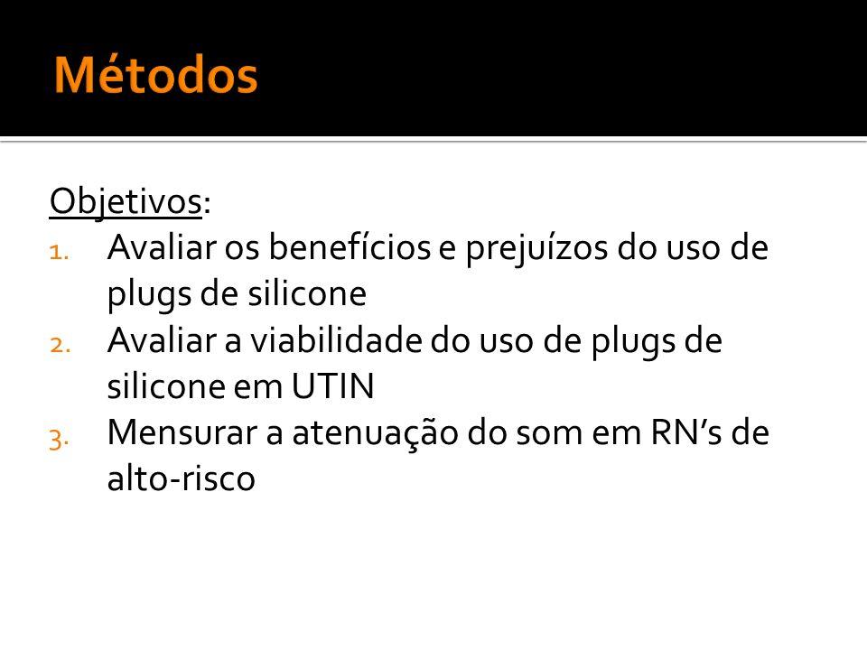 Métodos Objetivos: Avaliar os benefícios e prejuízos do uso de plugs de silicone. Avaliar a viabilidade do uso de plugs de silicone em UTIN.