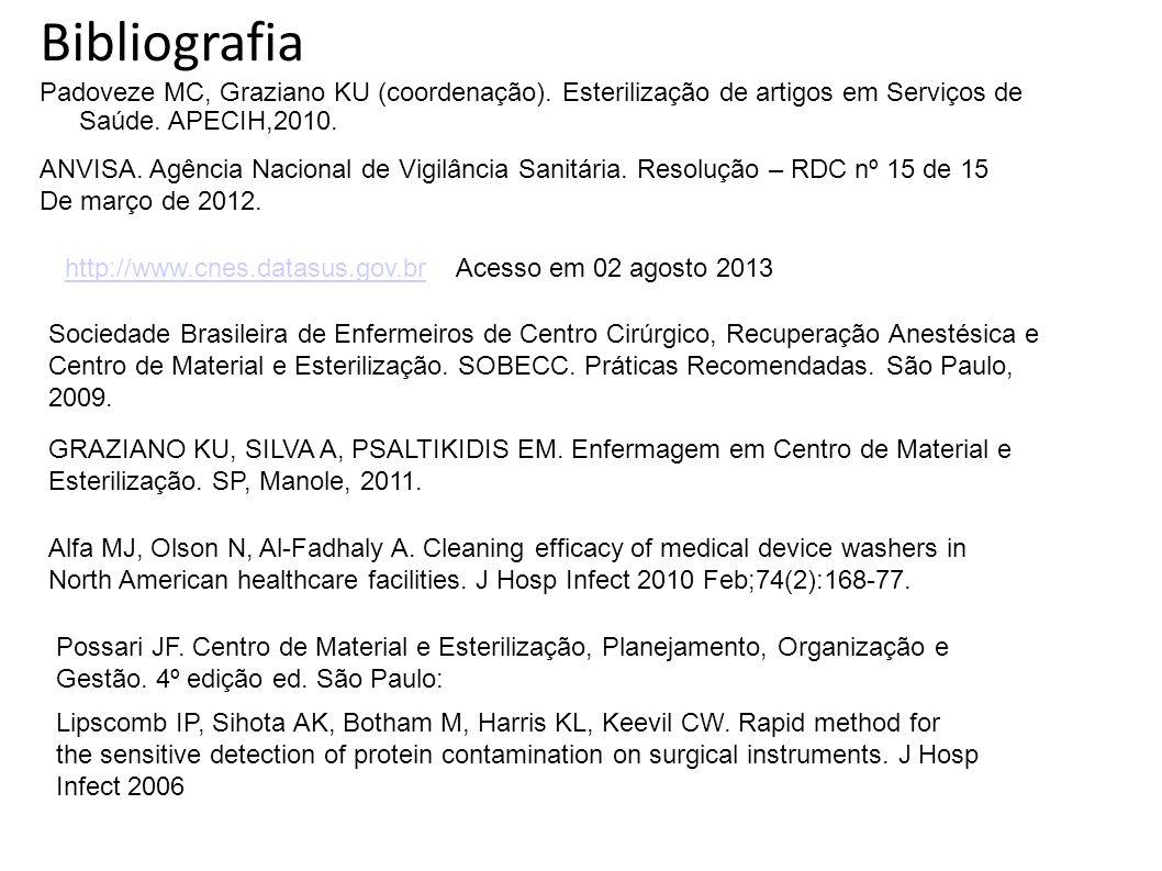 Bibliografia Padoveze MC, Graziano KU (coordenação). Esterilização de artigos em Serviços de Saúde. APECIH,2010.