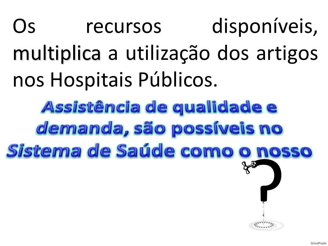 Os recursos disponíveis, multiplica a utilização dos artigos nos Hospitais Públicos.