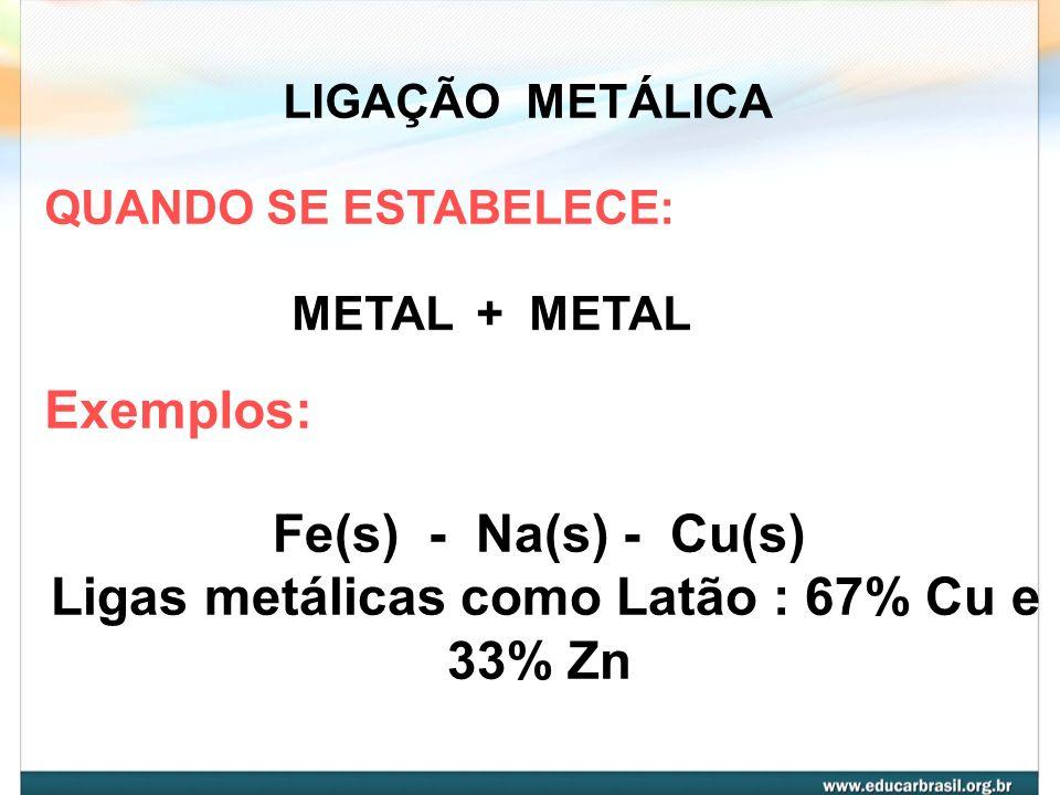 Ligas metálicas como Latão : 67% Cu e 33% Zn