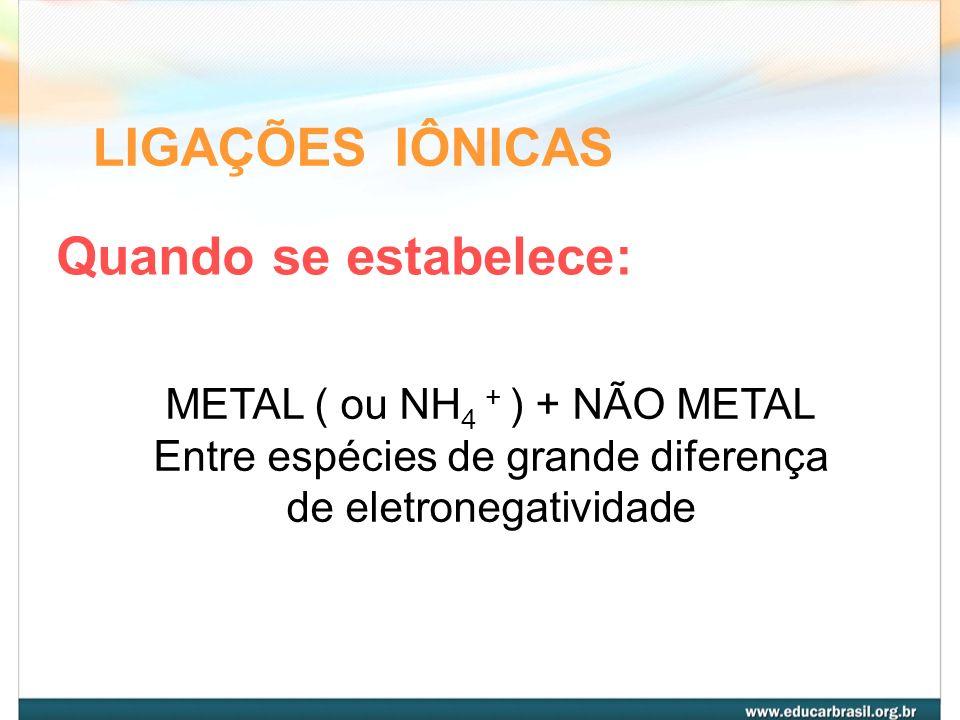 LIGAÇÕES IÔNICAS Quando se estabelece: METAL ( ou NH4 + ) + NÃO METAL