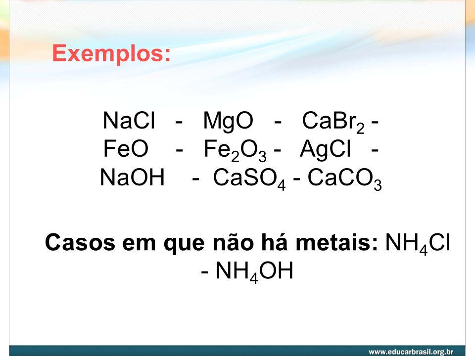 Casos em que não há metais: NH4Cl - NH4OH