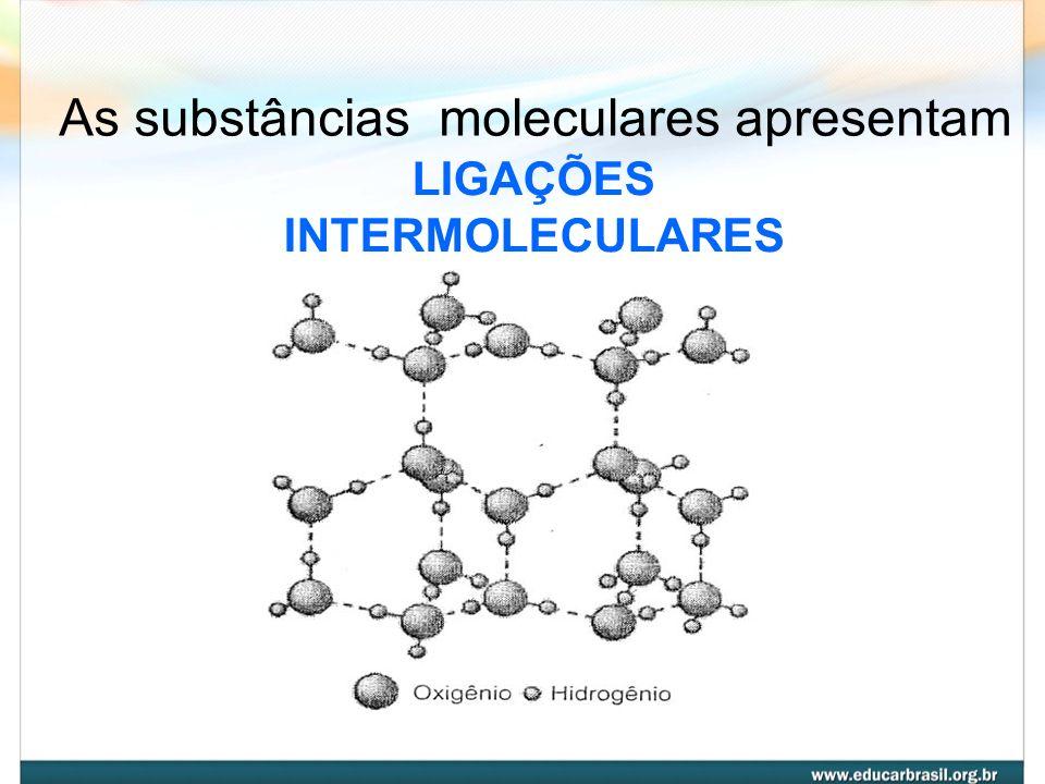As substâncias moleculares apresentam
