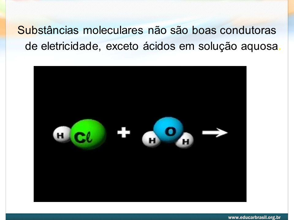 Substâncias moleculares não são boas condutoras