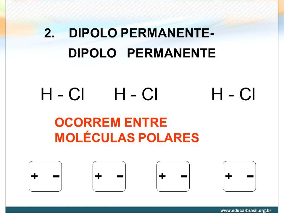 - H - Cl H - Cl H - Cl 2. DIPOLO PERMANENTE- DIPOLO PERMANENTE