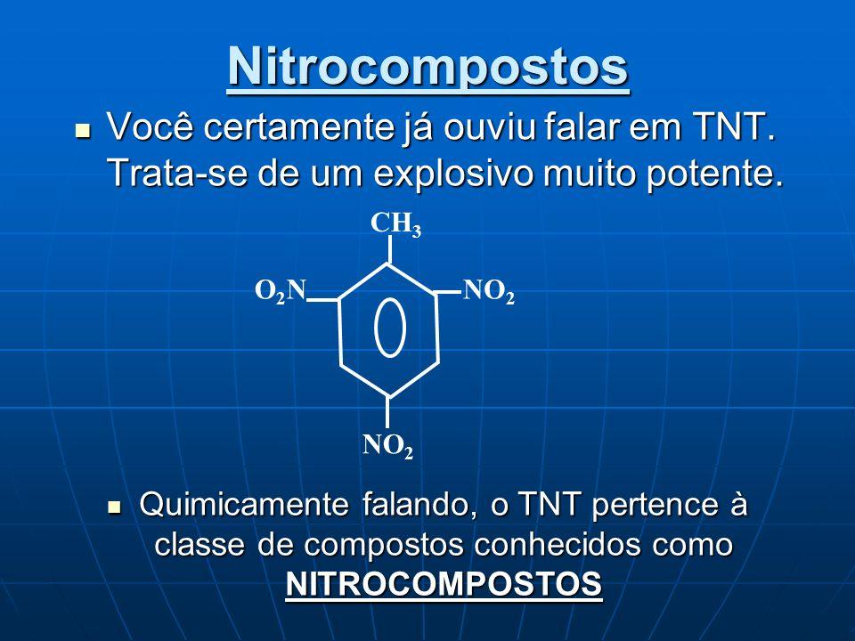 Nitrocompostos Você certamente já ouviu falar em TNT. Trata-se de um explosivo muito potente. CH3.