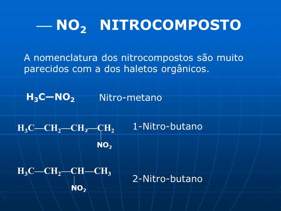  NO2 NITROCOMPOSTO A nomenclatura dos nitrocompostos são muito parecidos com a dos haletos orgânicos.