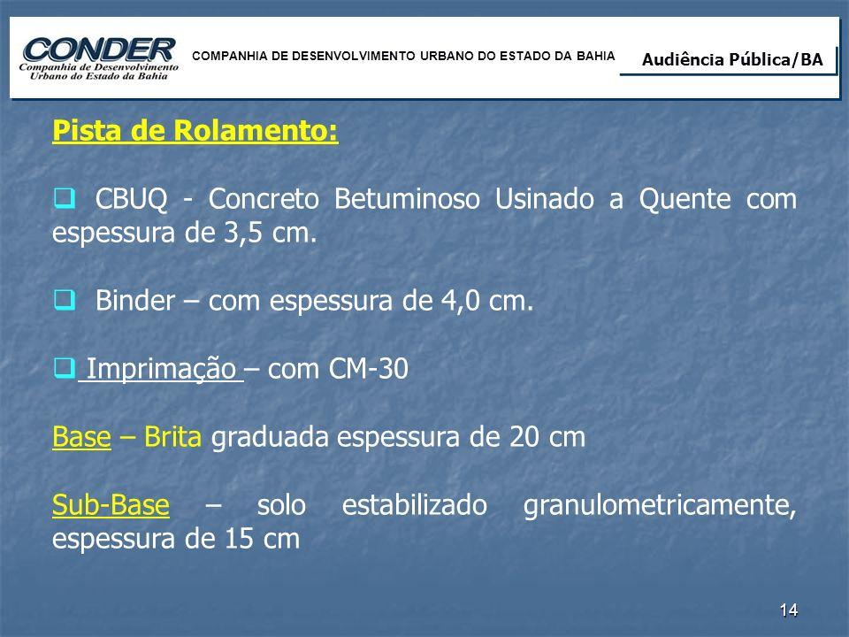 CBUQ - Concreto Betuminoso Usinado a Quente com espessura de 3,5 cm.