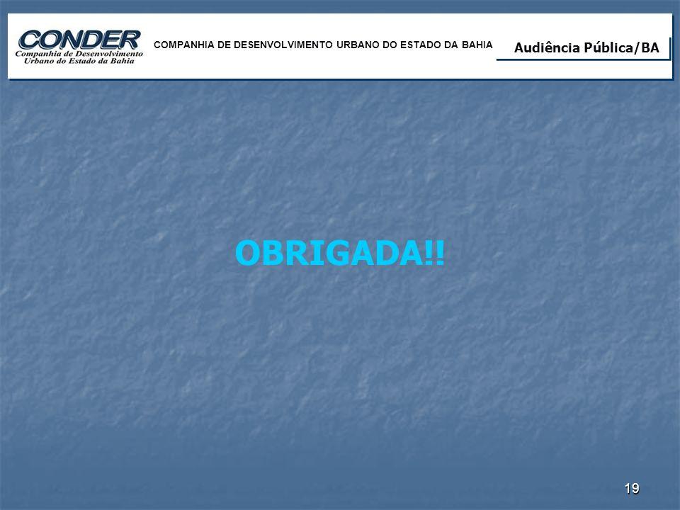 OBRIGADA!! Audiência Pública Lote 02/RN Audiência Pública/BA