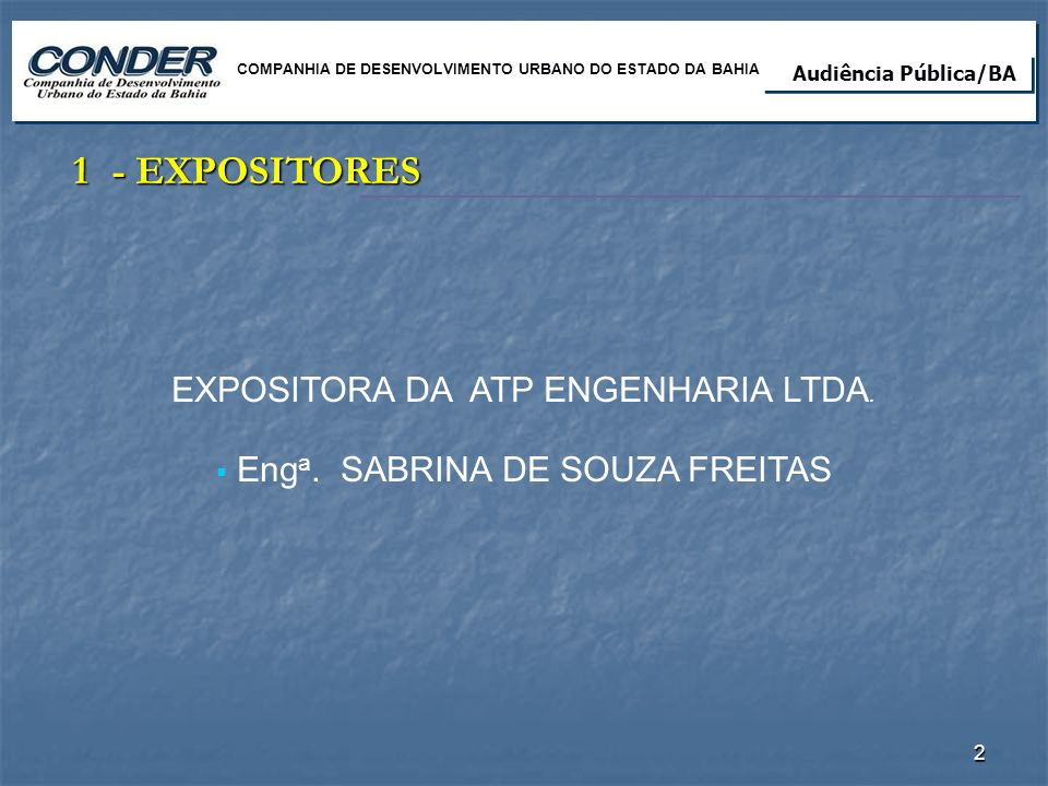 1 - EXPOSITORES EXPOSITORA DA ATP ENGENHARIA LTDA.