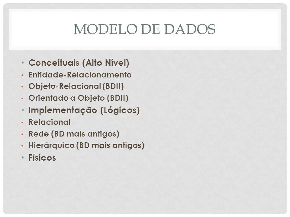 MODELO DE DADOS Conceituais (Alto Nível) Implementação (Lógicos)