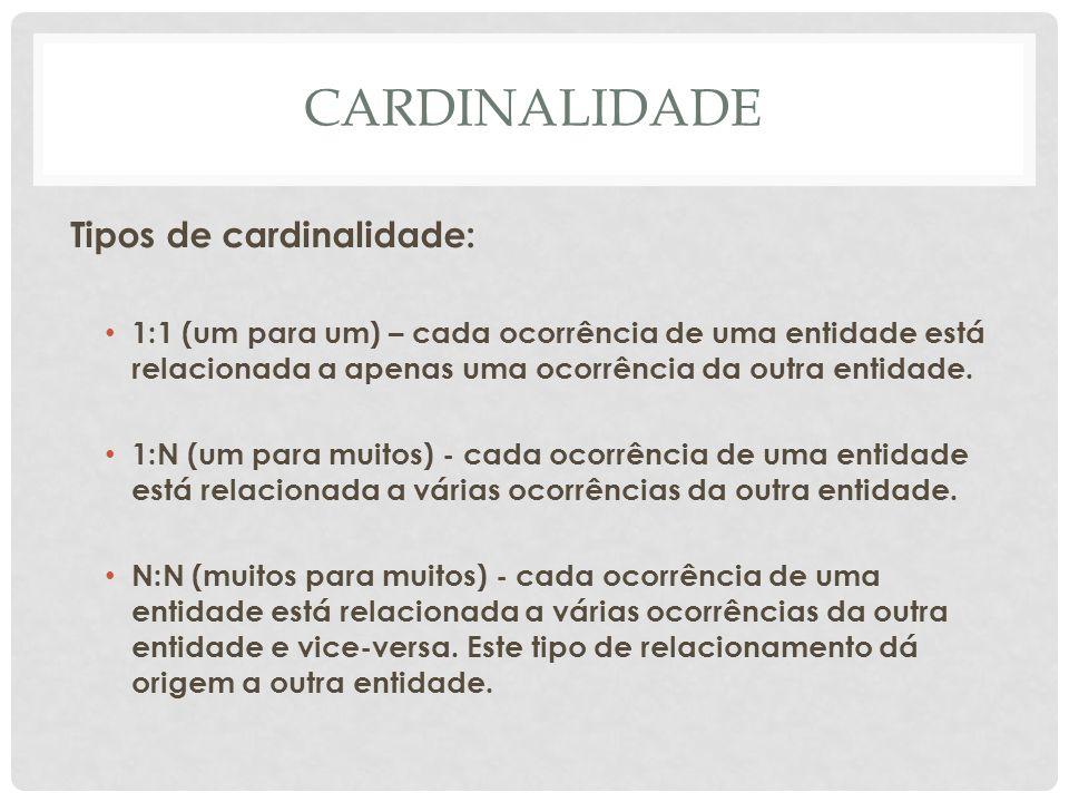 CARDINALIDADE Tipos de cardinalidade: