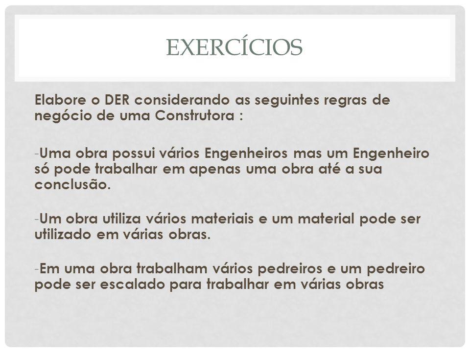 EXERCÍCIOS Elabore o DER considerando as seguintes regras de negócio de uma Construtora :