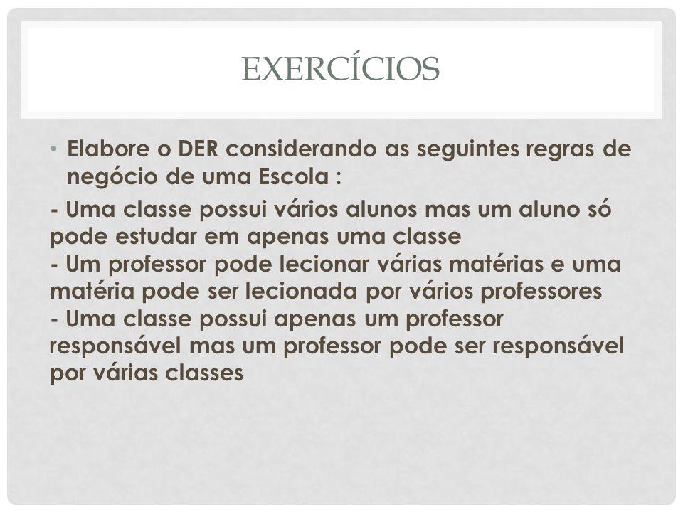 EXERCÍCIOS Elabore o DER considerando as seguintes regras de negócio de uma Escola :