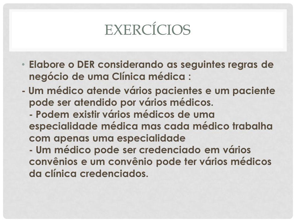 EXERCÍCIOS Elabore o DER considerando as seguintes regras de negócio de uma Clínica médica :