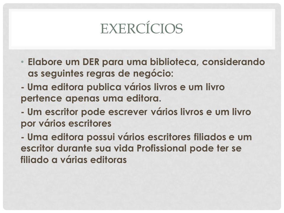 EXERCÍCIOS Elabore um DER para uma biblioteca, considerando as seguintes regras de negócio: