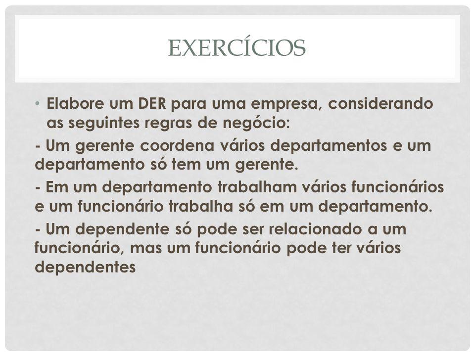 EXERCÍCIOS Elabore um DER para uma empresa, considerando as seguintes regras de negócio: