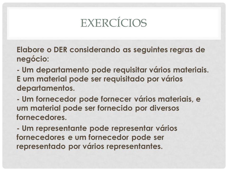 EXERCÍCIOS Elabore o DER considerando as seguintes regras de negócio: