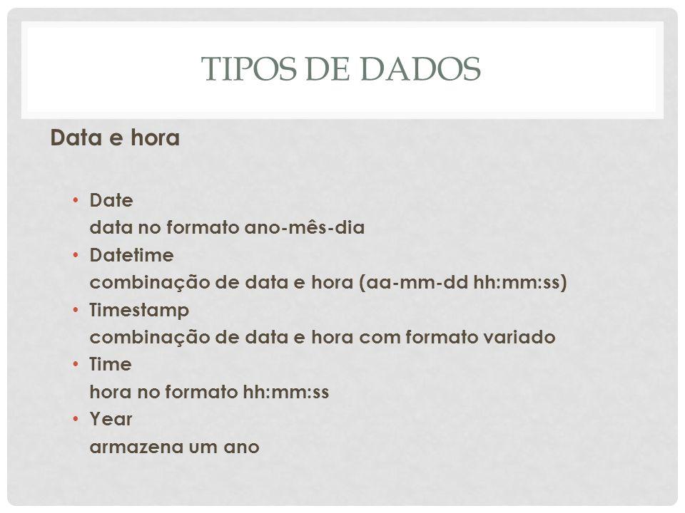 TIPOS DE DADOS Data e hora Date data no formato ano-mês-dia Datetime