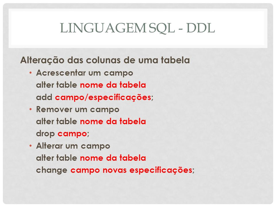 LINGUAGEM SQL - DDL Alteração das colunas de uma tabela