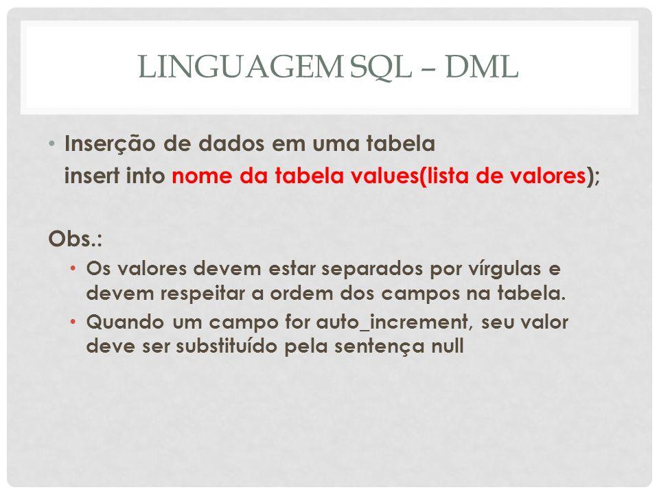 LINGUAGEM SQL – DML Inserção de dados em uma tabela