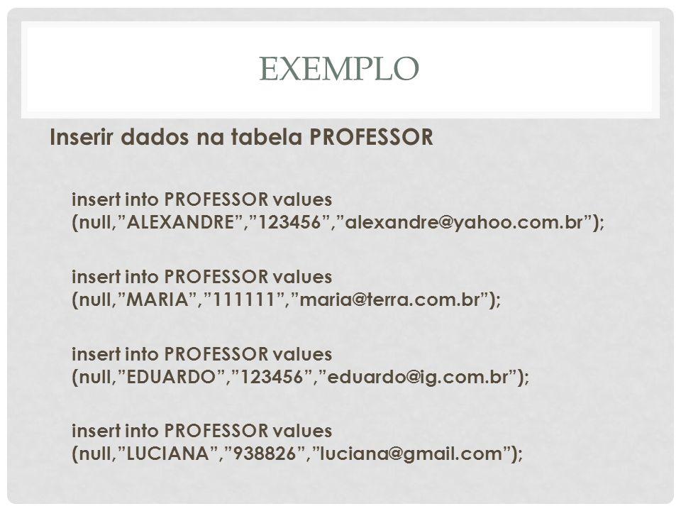 EXEMPLO Inserir dados na tabela PROFESSOR