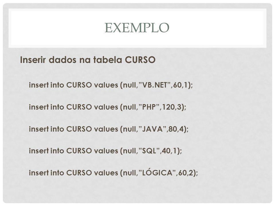 EXEMPLO Inserir dados na tabela CURSO