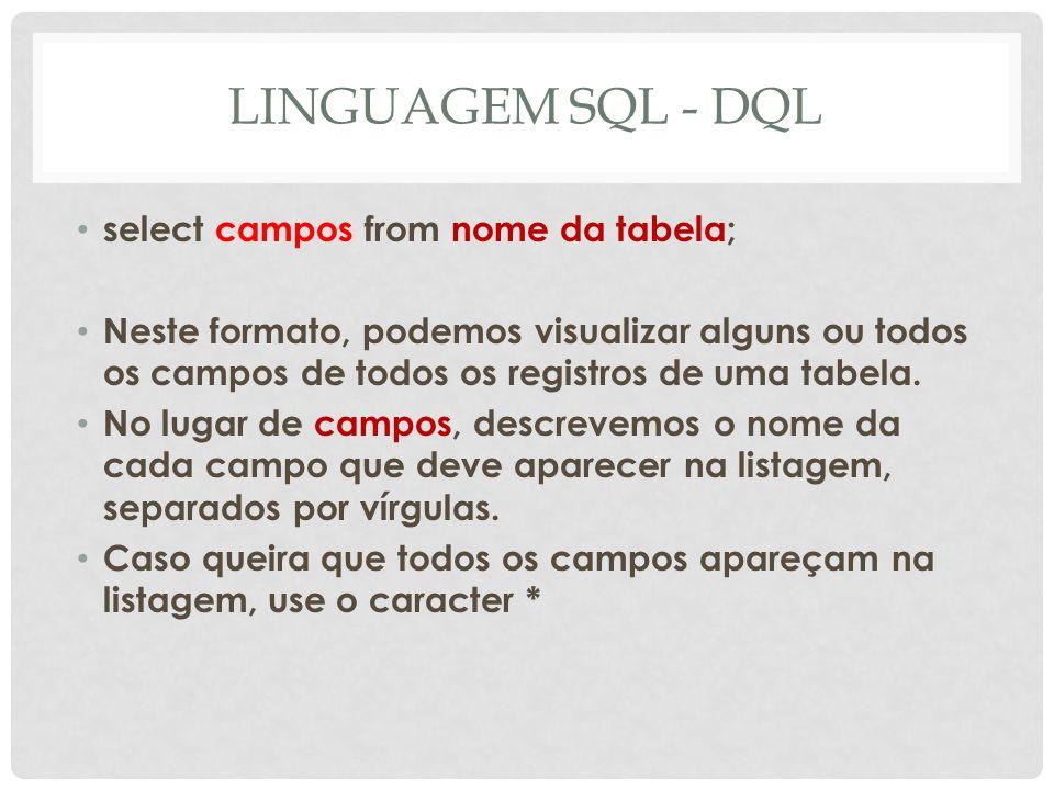 LINGUAGEM SQL - DQL select campos from nome da tabela;