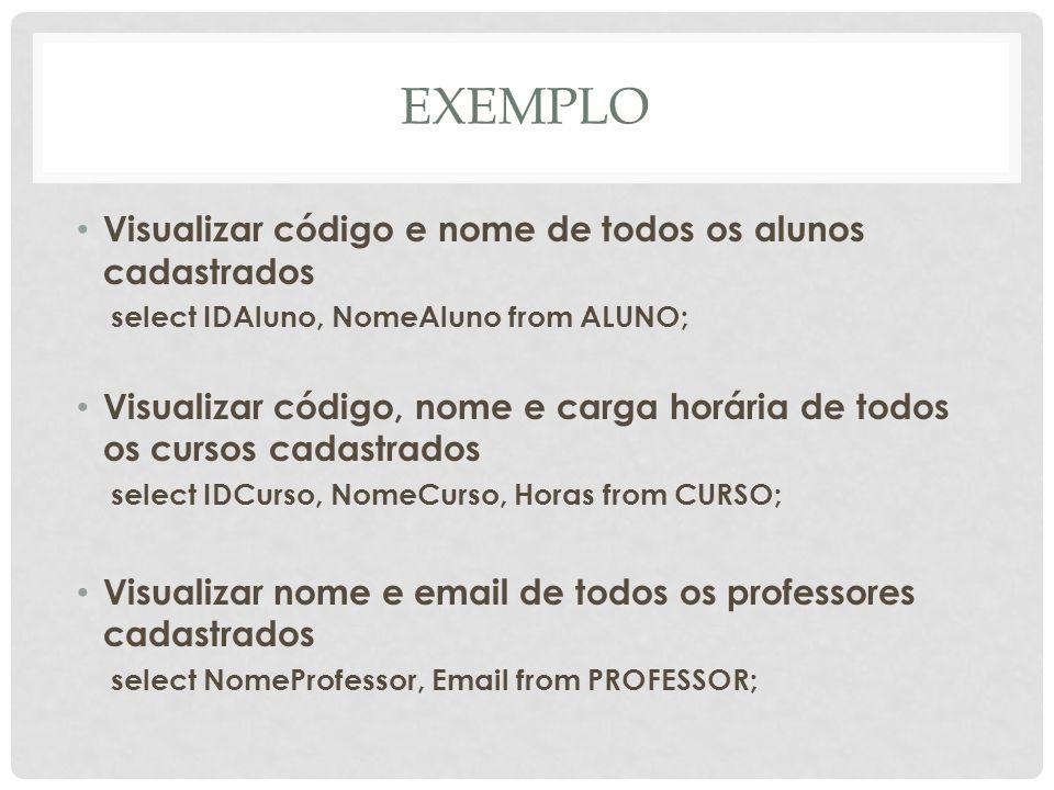 EXEMPLO Visualizar código e nome de todos os alunos cadastrados