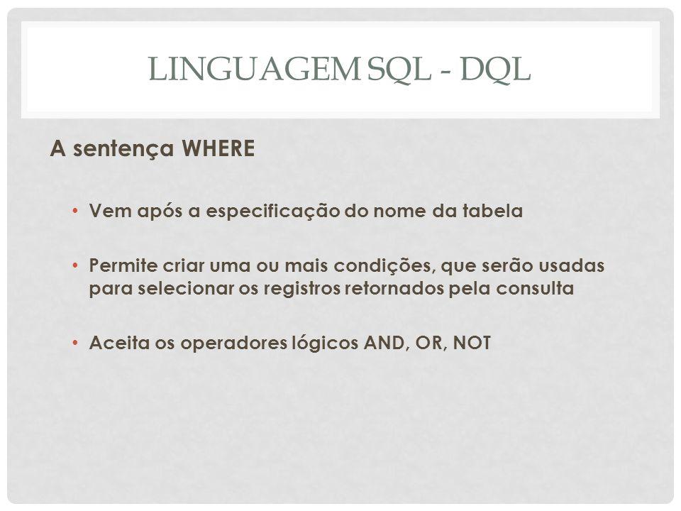 LINGUAGEM SQL - DQL A sentença WHERE