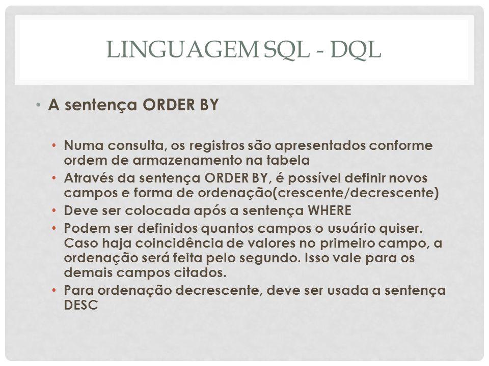 LINGUAGEM SQL - DQL A sentença ORDER BY