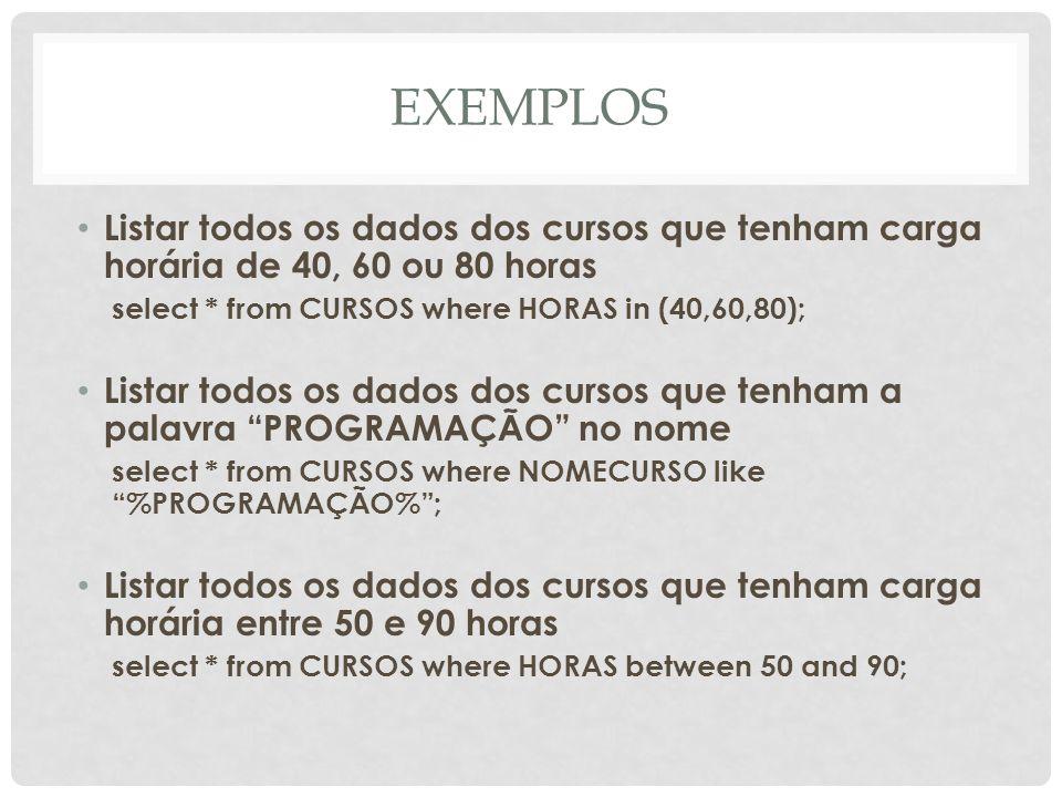 EXEMPLOS Listar todos os dados dos cursos que tenham carga horária de 40, 60 ou 80 horas. select * from CURSOS where HORAS in (40,60,80);