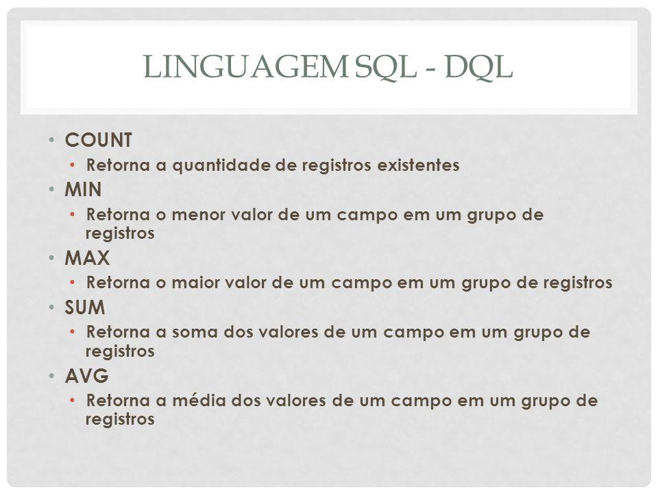 LINGUAGEM SQL - DQL COUNT MIN MAX SUM AVG