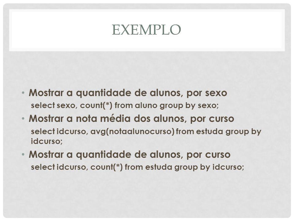 EXEMPLO Mostrar a quantidade de alunos, por sexo