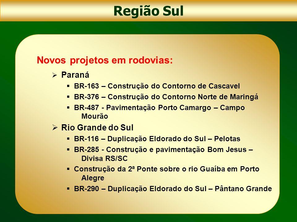 Região Sul Novos projetos em rodovias: Rio Grande do Sul Paraná