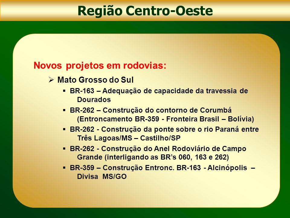 Região Centro-Oeste Novos projetos em rodovias: Mato Grosso do Sul