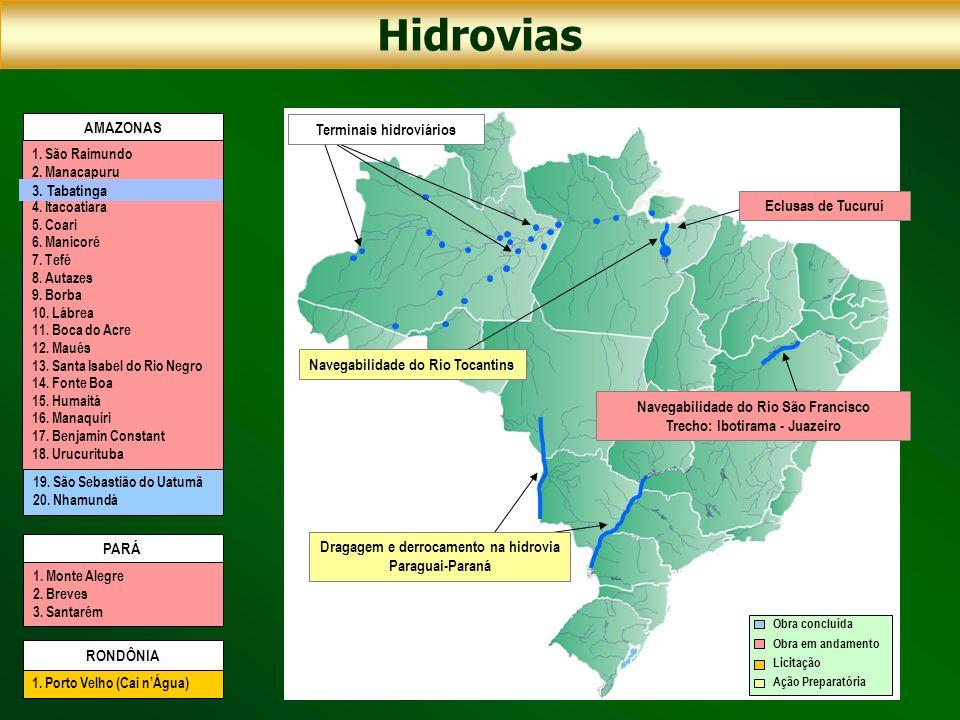 Hidrovias AMAZONAS Terminais hidroviários 3. Tabatinga