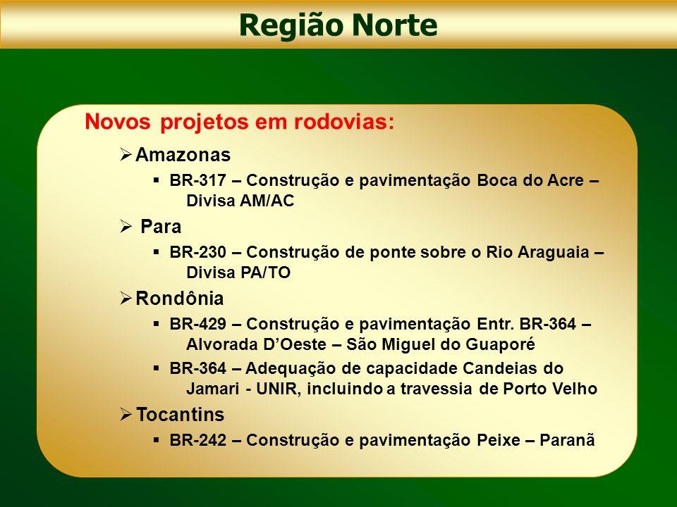 Região Norte Novos projetos em rodovias: Amazonas Para Rondônia