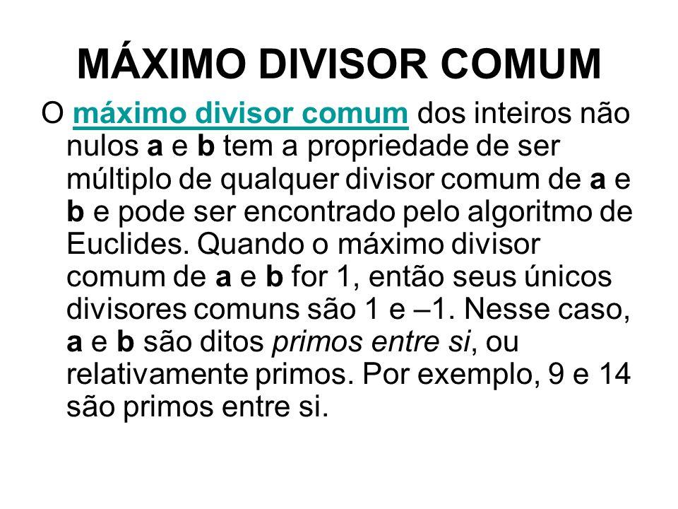 MÁXIMO DIVISOR COMUM