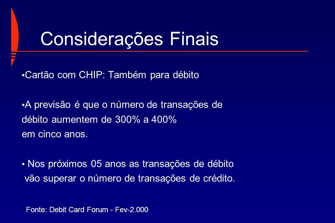 Considerações Finais Cartão com CHIP: Também para débito