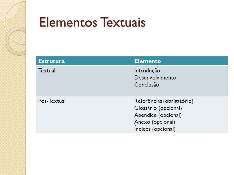 Elementos Textuais Estrutura Elemento Textual Introdução