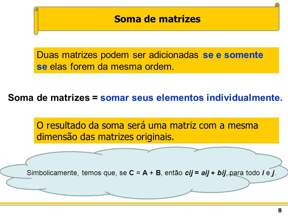 Soma de matrizes = somar seus elementos individualmente.